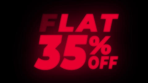 Flat 35% Percent Off Text Flickering Display Promotional Loop Live Action