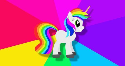 Fantasy unicorn on rainbow spinning background footage Live Action