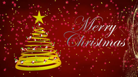 Merry Christmas greeting card. Golden star falling from which a spiral golden ribbon that forms a Animation