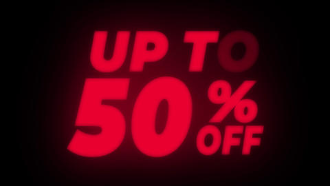 Up To 50 % Percent Off Text Flickering Display Promotional Loop Live Action
