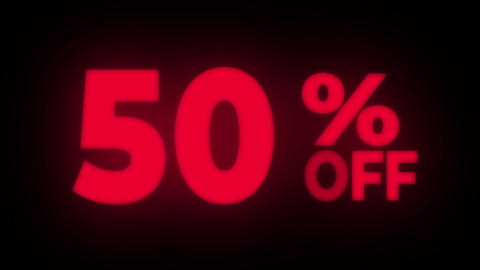 50% Percent Off Text Flickering Display Promotional Loop Live Action