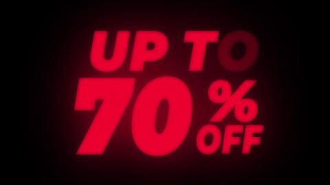Up To 70 % Percent Off Text Flickering Display Promotional Loop Live Action
