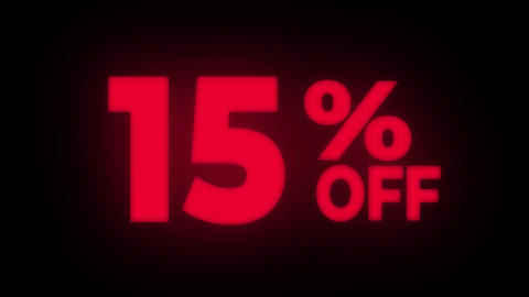 15% Percent Off Text Flickering Display Promotional Loop Live Action