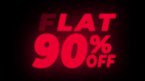 Flat 90% Percent Off Text Flickering Display Promotional Loop Live Action