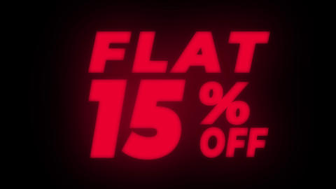 Flat 15% Percent Off Text Flickering Display Promotional Loop Live Action
