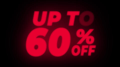 Up To 60% Percent Off Text Flickering Display Promotional Loop Live Action