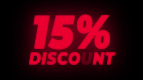 15% Percent Discount Text Flickering Display Promotional Loop Live Action
