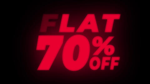 Flat 70% Percent Off Text Flickering Display Promotional Loop Live Action