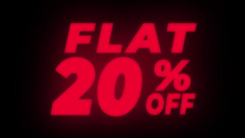 Flat 20% Percent Off Text Flickering Display Promotional Loop Live Action