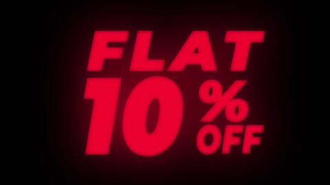 Flat 10% Percent Off Text Flickering Display Promotional Loop Live Action