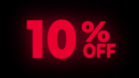10% Percent Off Text Flickering Display Promotional Loop Live Action