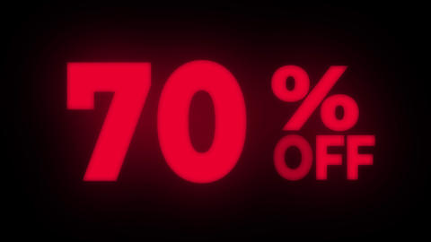 70% Percent Off Text Flickering Display Promotional Loop Live Action