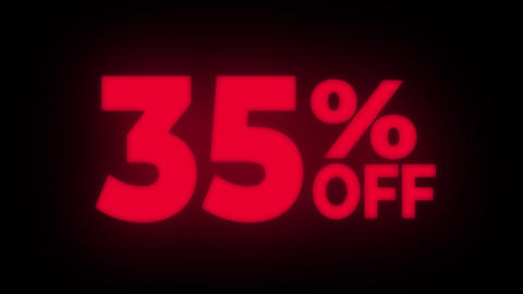 35% Percent Off Text Flickering Display Promotional Loop Live Action