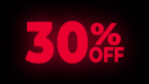 30% Percent Off Text Flickering Display Promotional Loop Live Action