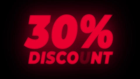 30% Percent Discount Text Flickering Display Promotional Loop Live Action