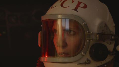 Attentive Female Cosmonaut Footage