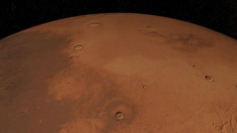 Mars against the background star map. Meridional view Animation