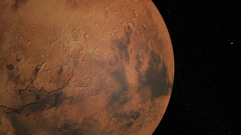 Mars against the background star map. Globe rotation Animation