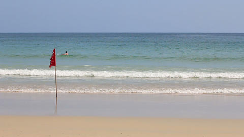 Safety Flag on a Beach Footage