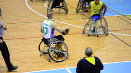 Players of basketball wheelchair playing a game Footage