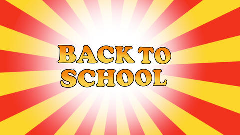Back To School Text Cartoon Style Expression on animated multicoloured sunbeam background Animation