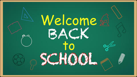 Welcome back to school writing on green chalkboard Animation