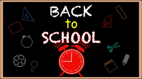 Welcome back to school writing on black chalkboard Animation