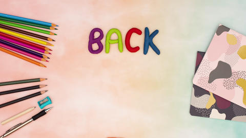Back to school stop motion animation - Back to school appear and disappear from table Animation