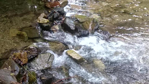 Underwater framing of a waterfall along a mountain stream from which fresh and pure water flows Footage