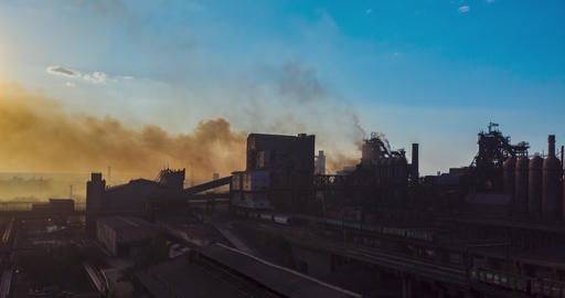 Aerial view. Timelapse. Smoke from the factory pipes. Ecology is under threat Live Action