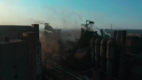 Aerial view. Pipes Throwing Smoke in the Sky. Environmental pollution concept Footage