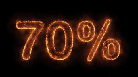 70% Percent Off Word Hot Animated Burning Realistic Fire Flame Loop Live Action