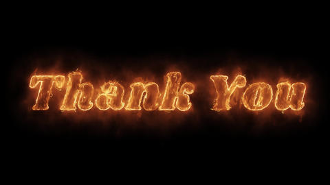 Thank You Word Hot Animated Burning Realistic Fire Flame Loop Live Action