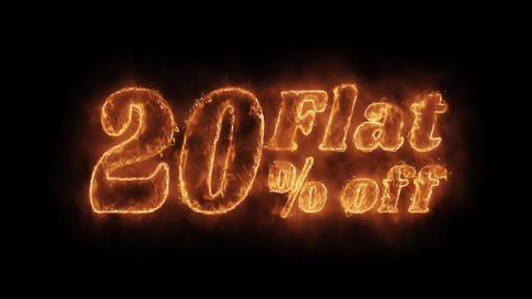 Flat 20% Percent Off Word Hot Animated Burning Realistic Fire Flame Loop Live Action