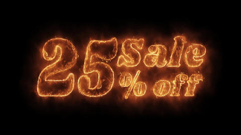 Sale 25% Percent Off Word Hot Animated Burning Realistic Fire Flame Loop Footage