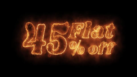 Flat 45% Percent Off Word Hot Animated Burning Realistic Fire Flame Loop Footage