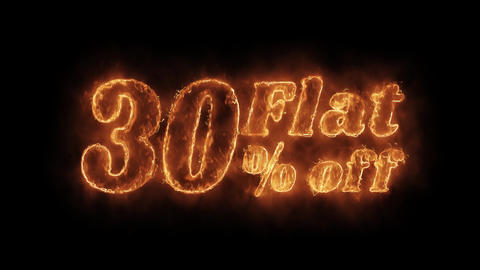 Flat 30% Percent Off Word Hot Animated Burning Realistic Fire Flame Loop Footage