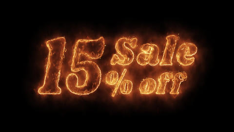 Sale 15% Percent Off Word Hot Animated Burning Realistic Fire Flame Loop Live Action