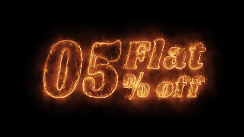 Flat 05% Percent Off Word Hot Animated Burning Realistic Fire Flame Loop Live Action