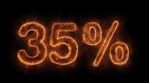 35% Percent Off Word Hot Animated Burning Realistic Fire Flame Loop Live Action