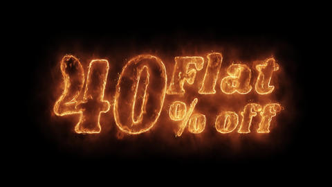 Flat 40% Percent Off Word Hot Animated Burning Realistic Fire Flame Loop Footage