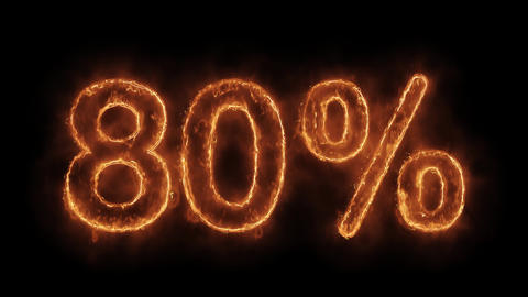 80% Percent Off Word Hot Animated Burning Realistic Fire Flame Loop Live Action
