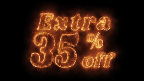 Extra 35% Percent Off Word Hot Animated Burning Realistic Fire Flame Loop Live Action