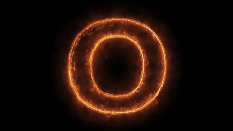 Alphabet O Word Hot Animated Burning Realistic Fire Flame Loop Live Action