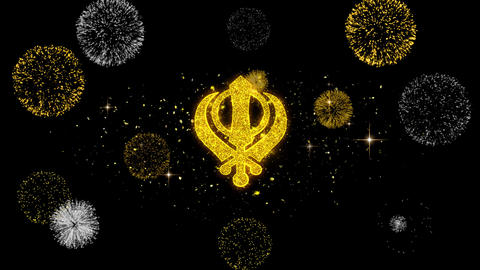 Khanda, religion, religious symbol, sikhism Icon on Glitter Golden Particles Live Action