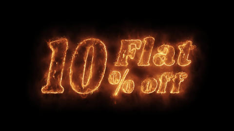 Flat 10% Percent Off Word Hot Animated Burning Realistic Fire Flame Loop Footage