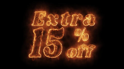 Extra 15% Percent Off Word Hot Animated Burning Realistic Fire Flame Loop Footage