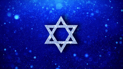 David The Jewish star Religion Icon Blinking Glitter Glowing Shine Particles Live Action