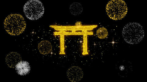 Shinto symbol Torii religion Icon on Glitter Golden Particles Firework Live Action