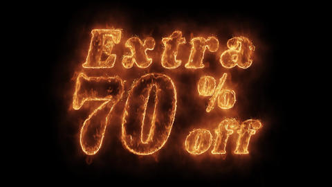 Extra 70% Percent Off Word Hot Animated Burning Realistic Fire Flame Loop Live Action